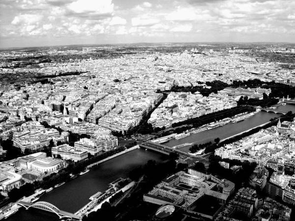 Photograph - Paris From The Eiffel Tower, Black And White by Chance Kafka