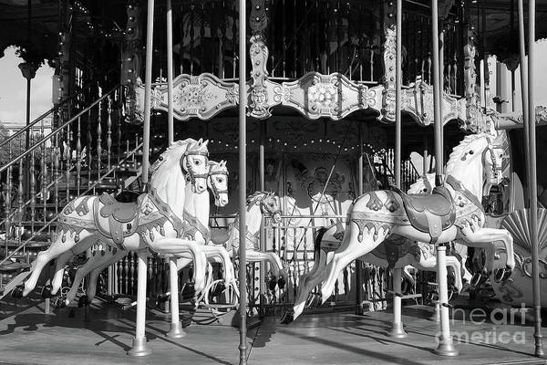 Wall Art - Photograph - Paris Hotel Deville Carousel Merry Go Round Carousel Horses Black And White Prints Decor by Kathy Fornal
