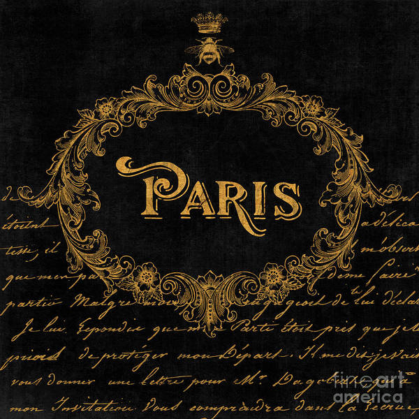 Wall Art - Painting - Paris In Gold French Typography Art by Tina Lavoie