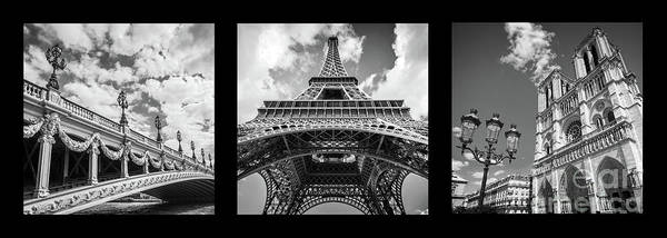 Wall Art - Photograph - Paris Landmarks Triptych by Delphimages Photo Creations