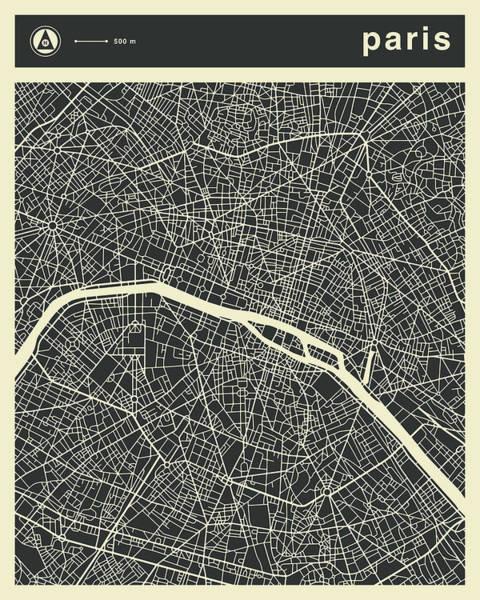Paris Digital Art - Paris Map 3 by Jazzberry Blue