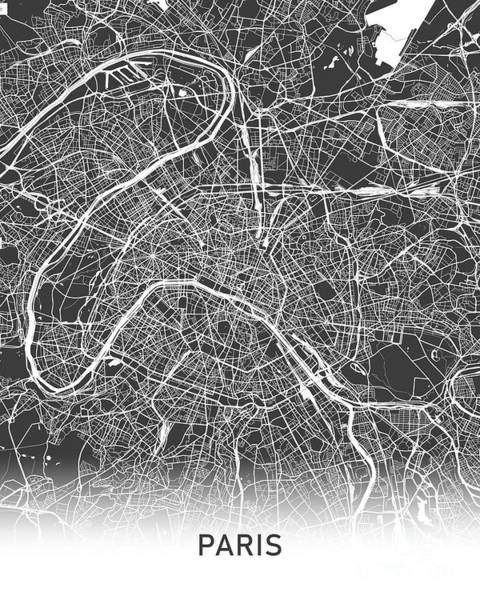 Wall Art - Photograph - Paris Map Black And White by Delphimages Photo Creations