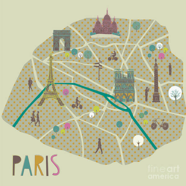 Wall Art - Digital Art - Paris Map Greeting Card Design by Lavandaart