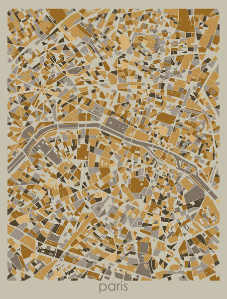 Wall Art - Digital Art - Paris Map Retro 4  by Bekim M