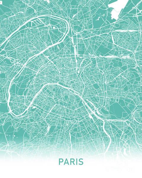 Wall Art - Digital Art - Paris Map Teal by Delphimages Photo Creations