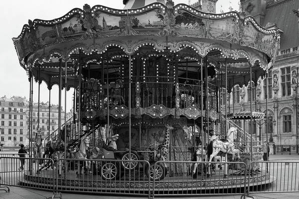 Wall Art - Photograph - Paris Merry Go Round In Mono by Georgia Fowler