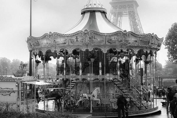 Photograph - Paris Monochrome Carousel by Georgia Fowler