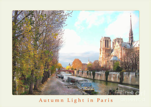 Rights Managed Images Wall Art - Photograph - Paris Notre Dame Autumn Poster Beige by Felipe Adan Lerma