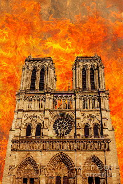 Photograph - Paris Notre Dame Church On Fire by Benny Marty