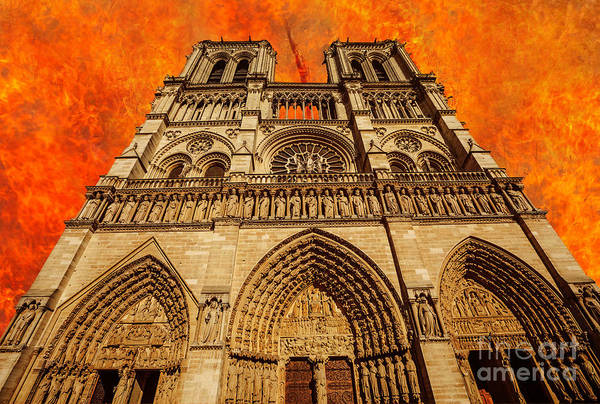 Photograph - Paris Notre Dame On Fire by Benny Marty