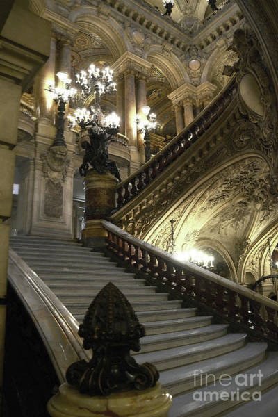 Wall Art - Photograph - Paris Opera Garnier - Paris Opera House Grand Staircase by Kathy Fornal