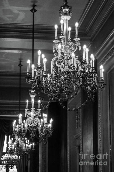 Wall Art - Photograph - Paris Opera House Chandeliers Black White Sparkling Opulent Chandelier Decor by Kathy Fornal