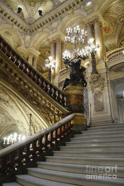 Wall Art - Photograph - Paris Opera House Grand Staircase Chandeliers Architecture  by Kathy Fornal