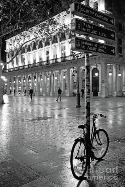 Wall Art - Photograph - Paris Palais Royal Night Street Scene - Paris Bicycle Black White Decor by Kathy Fornal