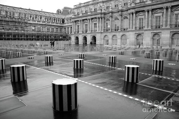 Wall Art - Photograph - Paris Palais Royal Palace Columns Black And White Paris Architecture Palace Photography by Kathy Fornal