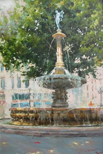 Francaise Painting - Paris, Place Malraux, Fontain Nimphe Fluviale. Fontain River Nimph, Paris  by Volodymyr Klemazov