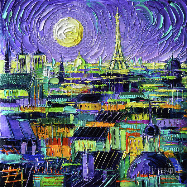 Wall Art - Painting - Paris Purple Night - Textural Impressionist Stylized Cityscape Mona Edulesco by Mona Edulesco