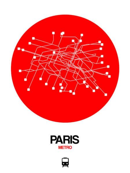 Wall Art - Digital Art - Paris Red Subway Map by Naxart Studio