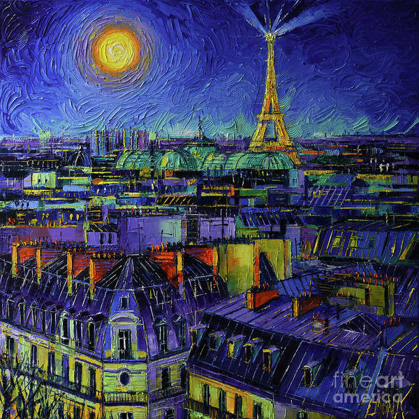 Wall Art - Painting - Paris Rooftops At Night - Impasto Palette Knife Oil Painting Mona Edulesco by Mona Edulesco