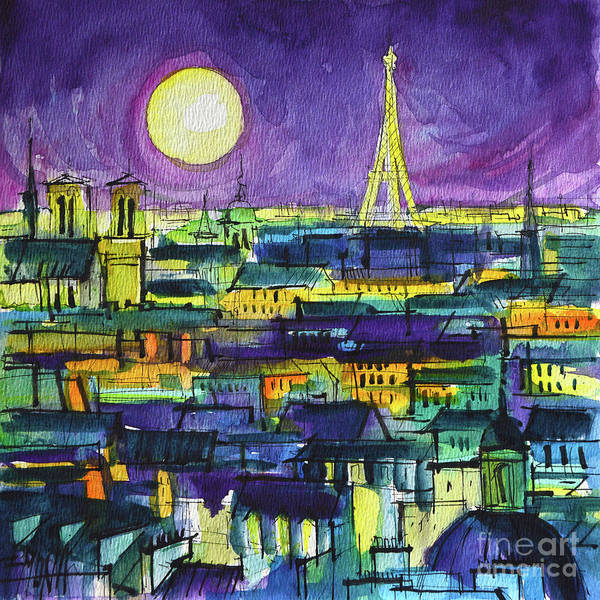 Wall Art - Painting - Paris Rooftops Night View - Watercolor Painting Mona Edulesco by Mona Edulesco