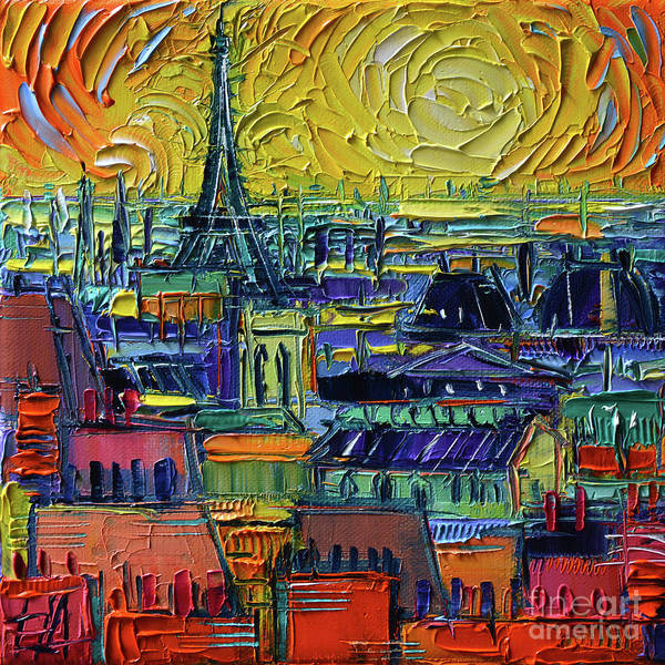Square Tower Painting - Paris Rooftops View From Centre Pompidou - Textural Impressionist Stylized Cityscape Mona Edulesco by Mona Edulesco