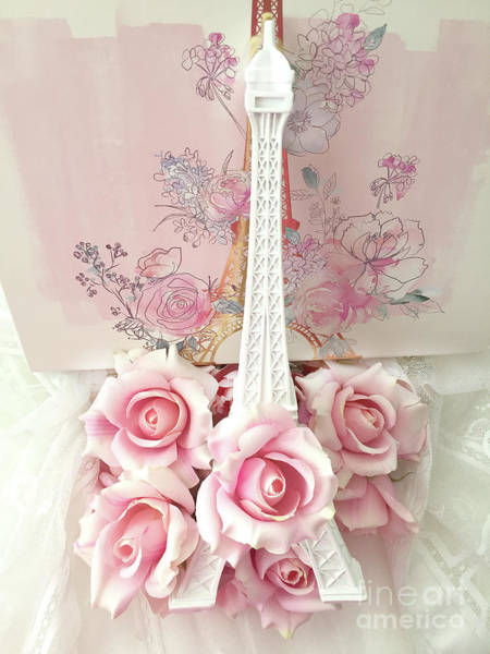 Wall Art - Photograph - Paris Shabby Chic Pink White Roses Eiffel Tower Baby Girl Nursery Decor - Paris Pink Roses by Kathy Fornal