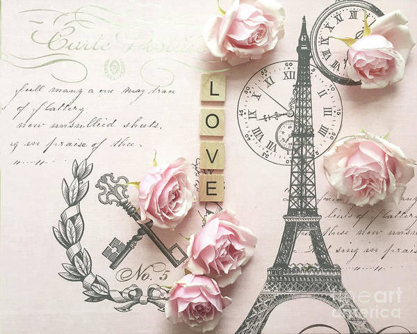Wall Art - Digital Art - Paris Shabby Chic Pink Roses Love Eiffel Tower Pink Roses French Script Romantic Fleurs by Kathy Fornal
