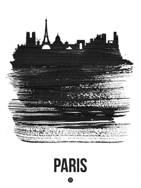 Wall Art - Mixed Media - Paris Skyline Brush Stroke Black by Naxart Studio