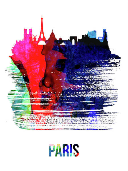 Wall Art - Mixed Media - Paris Skyline Brush Stroke Watercolor   by Naxart Studio