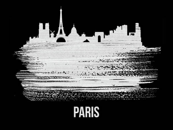 Wall Art - Mixed Media - Paris Skyline Brush Stroke White by Naxart Studio