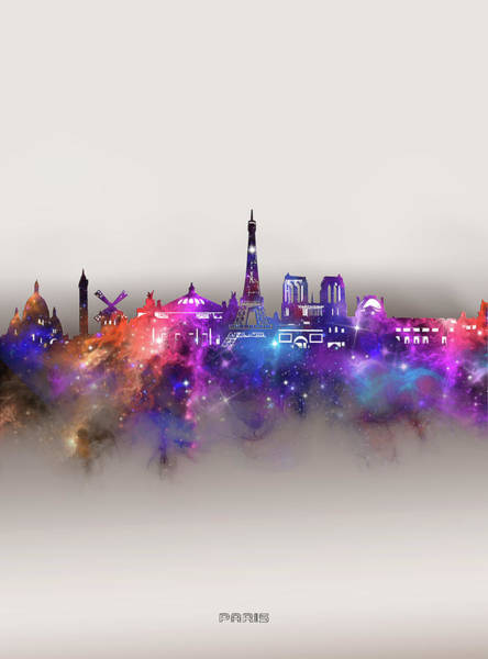 Wall Art - Digital Art - Paris Skyline Galaxy by Bekim M