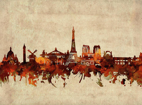 Wall Art - Digital Art - Paris Skyline Sepia by Bekim M