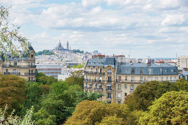 Nature Wall Art - Photograph - Paris Skyline With Montmartre Hill And Sacre Coeur Basilica In V by Iordanis Pallikaras