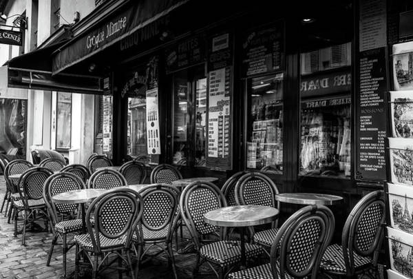 Photograph - Paris Street Cafe In Mono by Georgia Fowler