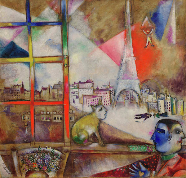 Wall Art - Painting - Paris Through The Window - Paris Par La Fenetre, 1913 by Marc Chagall