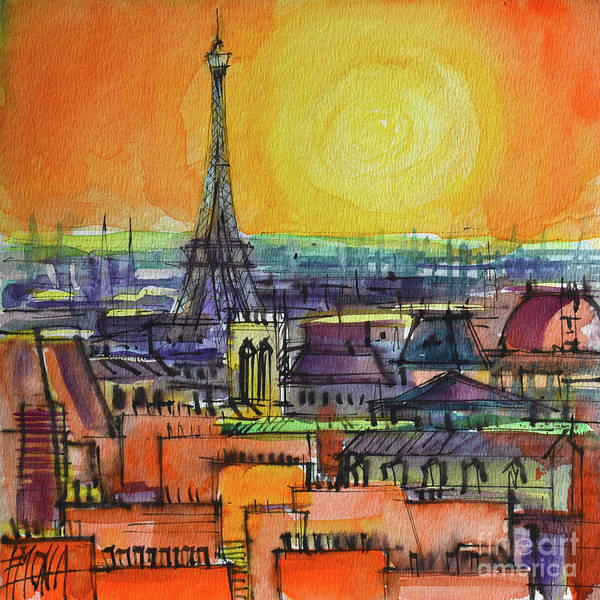 Square Tower Painting - Paris View From Centre Pompidou - Watercolor Painting Mona Edulesco by Mona Edulesco