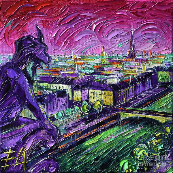 Wall Art - Painting - Paris View With Gargoyles Diptych Oil Painting Left Panel by Mona Edulesco