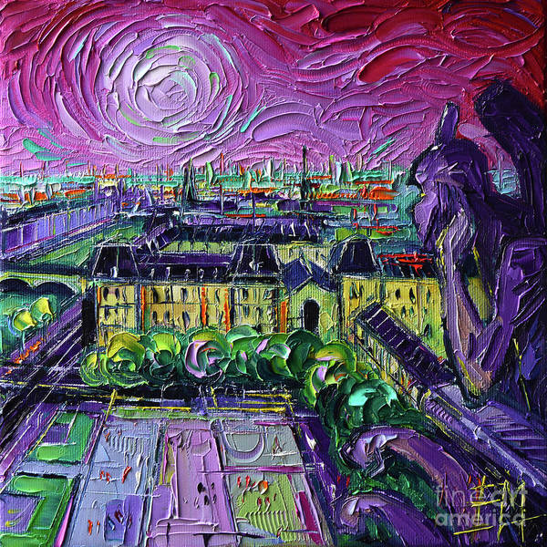 Wall Art - Painting - Paris View With Gargoyles Diptych Oil Painting Right Panel by Mona Edulesco