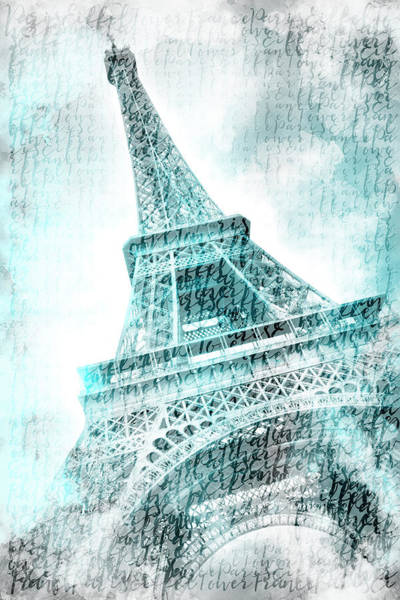 Wall Art - Mixed Media - Paris Watercolor Eiffel Tower - Turquoise by Melanie Viola
