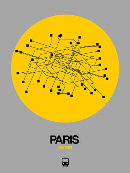 Wall Art - Digital Art - Paris Yellow Subway Map by Naxart Studio