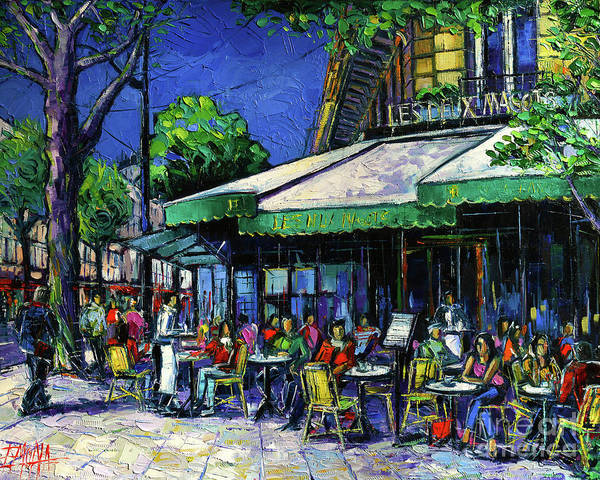 Urban Scene Painting - Parisian Cafe by Mona Edulesco