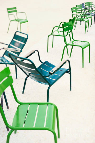 Parisian Metallic Chairs In The City Art Print