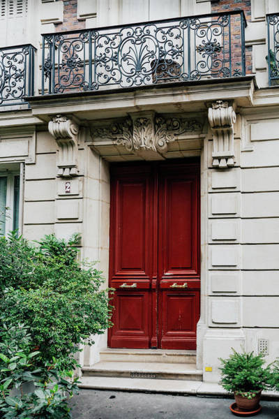 Wall Art - Photograph - Parisian Red Door With Balcony by Georgia Fowler