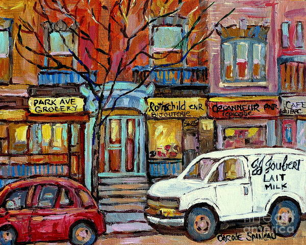 Wall Art - Painting - Park Avenue Storefronts Jj Joubert Milk Truck Quebec Art Canadian Artist C Spandau Montreal Scenes   by Carole Spandau