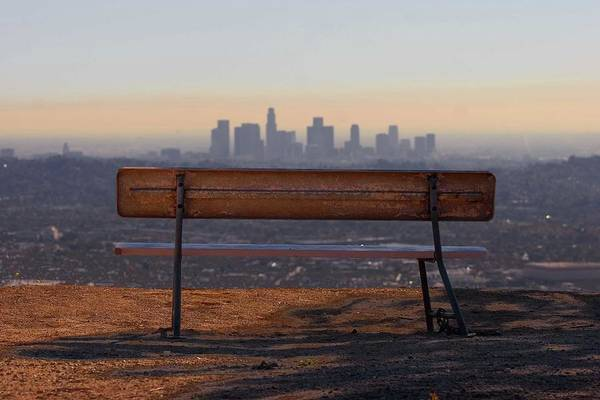 Wall Art - Photograph - Park Bench Overlooking Downtown L.a by Travis Price