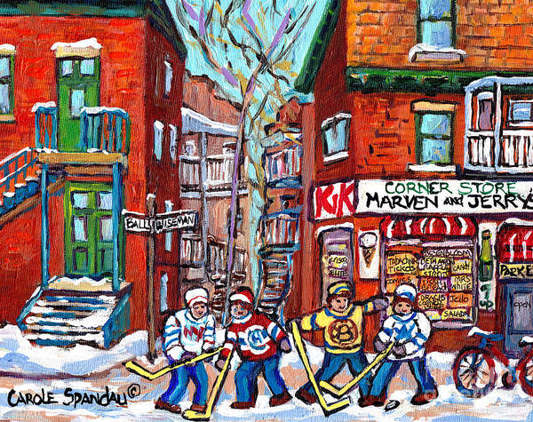 Painting - Park Extension Paintings Marven's Cornerstore Ball Ave Hockey Art Montreal Memories C Spandau Artist by Carole Spandau