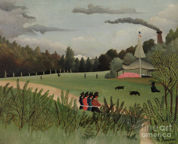 Wall Art - Painting - Park With Figures by Henri Rousseau
