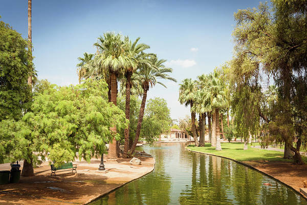 Southern Usa Photograph - Park With Palm Tree In Phoenix - Arizona by Franckreporter