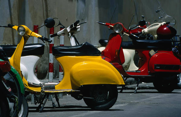 Outdoors Photograph - Parked Scooters by Martin Moos