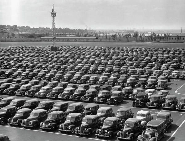 Parking Lot Photograph - Parking Lot At Car Factory by George Marks